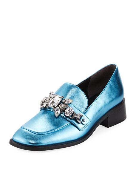 Marc Jacobs Tilde Embellished Metallic Loafer