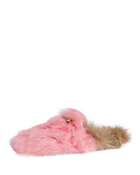 Princetown Horsebit-Detailed  Two-Tone Shearling Slippers, Light Pink