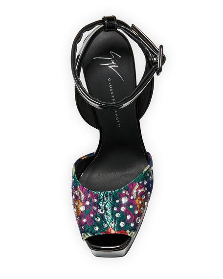 Floral-Jacquard Stud Platform Sandal