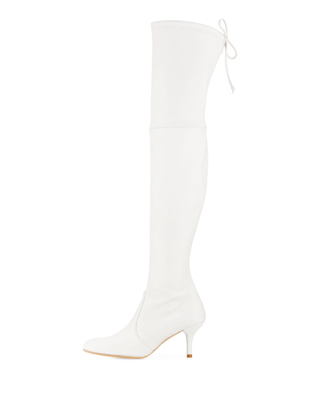 2acad3058 Stuart Weitzman Tiemodel Leather Over-The-Knee Boot, Snow | Neiman Marcus