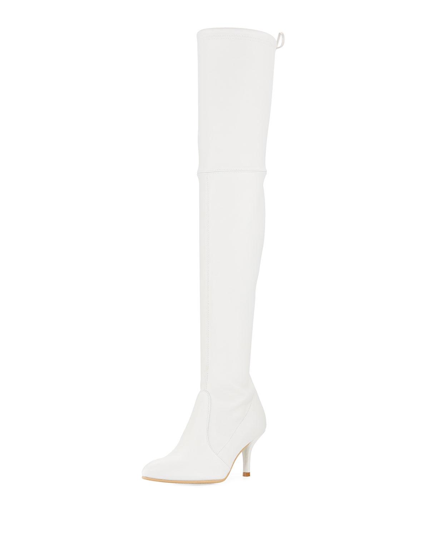 5a0861da7 Stuart Weitzman Tiemodel Leather Over-The-Knee Boot, Snow | Neiman ...