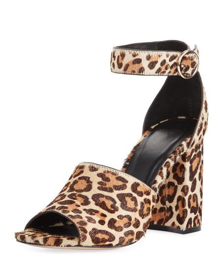Joie Lahoma Chunky Leopard-Print Calf Hair 95mm Sandal