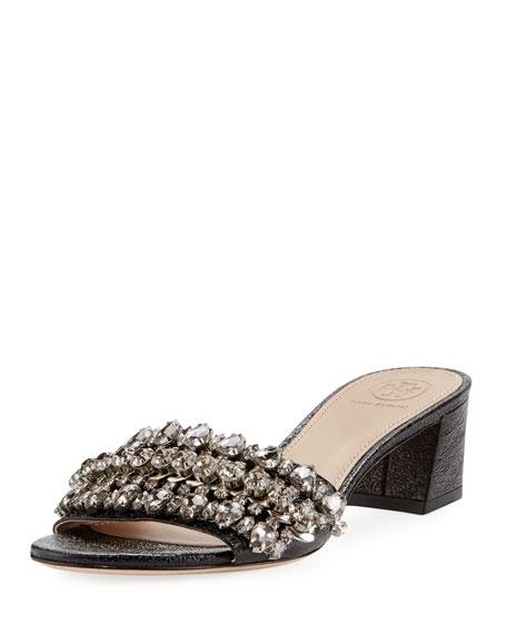 Tory Burch Beverly Embellished Crinkle-Leather Slide Sandal