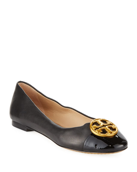 Tory Burch Chelsea Soft Leather Cap-Toe Ballerina Flat