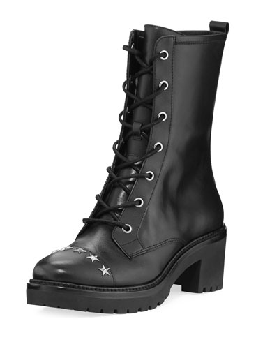 Cody Star-Studded Leather Combat Boot
