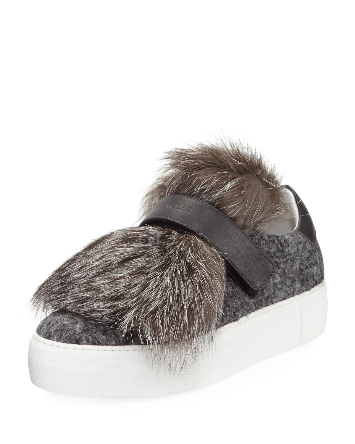 Moncler Fox Fur & Leather Sneakers 99zIV