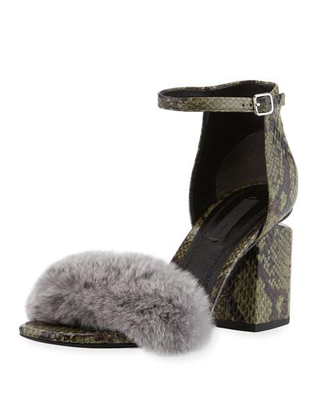 Abby Snakeskin City Sandal with Fur Trim