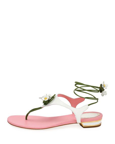 Flower-Tie Flat Thong Sandal