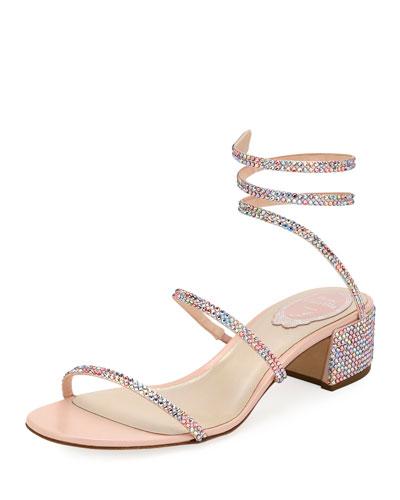 2f800ad209e Rene Caovilla Snake-Coil Satin Chunky-Heel Sandal from Neiman Marcus ...