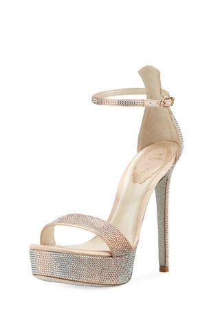 Rene Caovilla 130mm Crystal-Studded Satin Platform Sandal