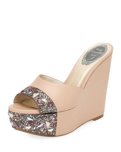Embellished Leather Wedge Slide Sandal