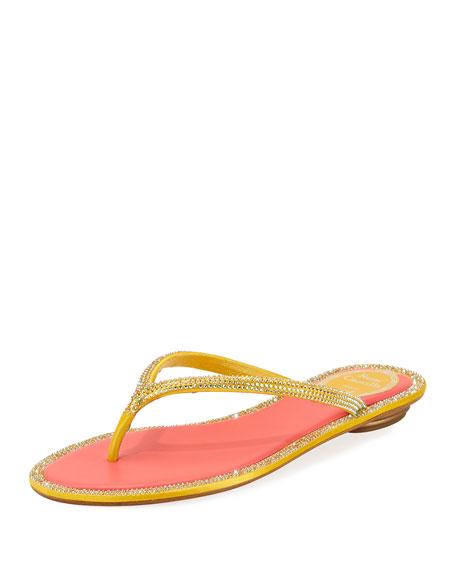 Rene Caovilla Flat Strass Thong Sandal