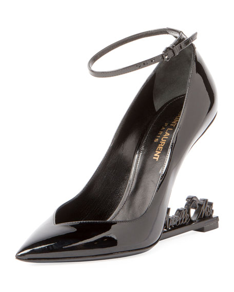 Saint Laurent Opyum Appelle Moi Patent Text-Heel Pump