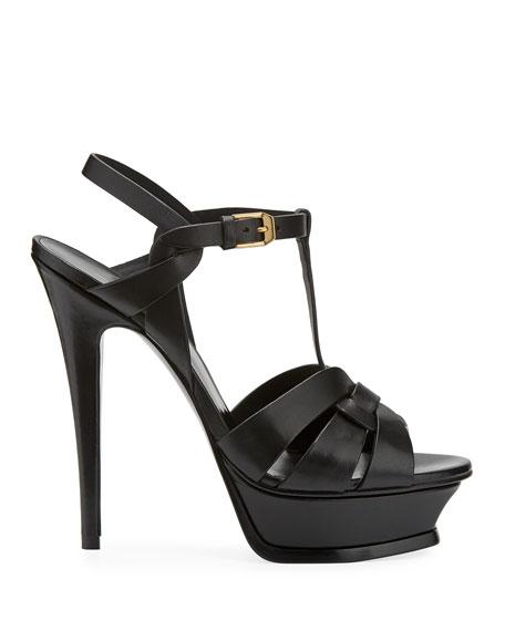 Tribute Leather 105mm Platform Sandal, Black