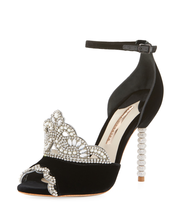 33c7ed9526d Sophia Webster Royalty Velvet Crown Embellished Sandal