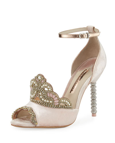 Royalty Velvet Crown Embellished Sandal