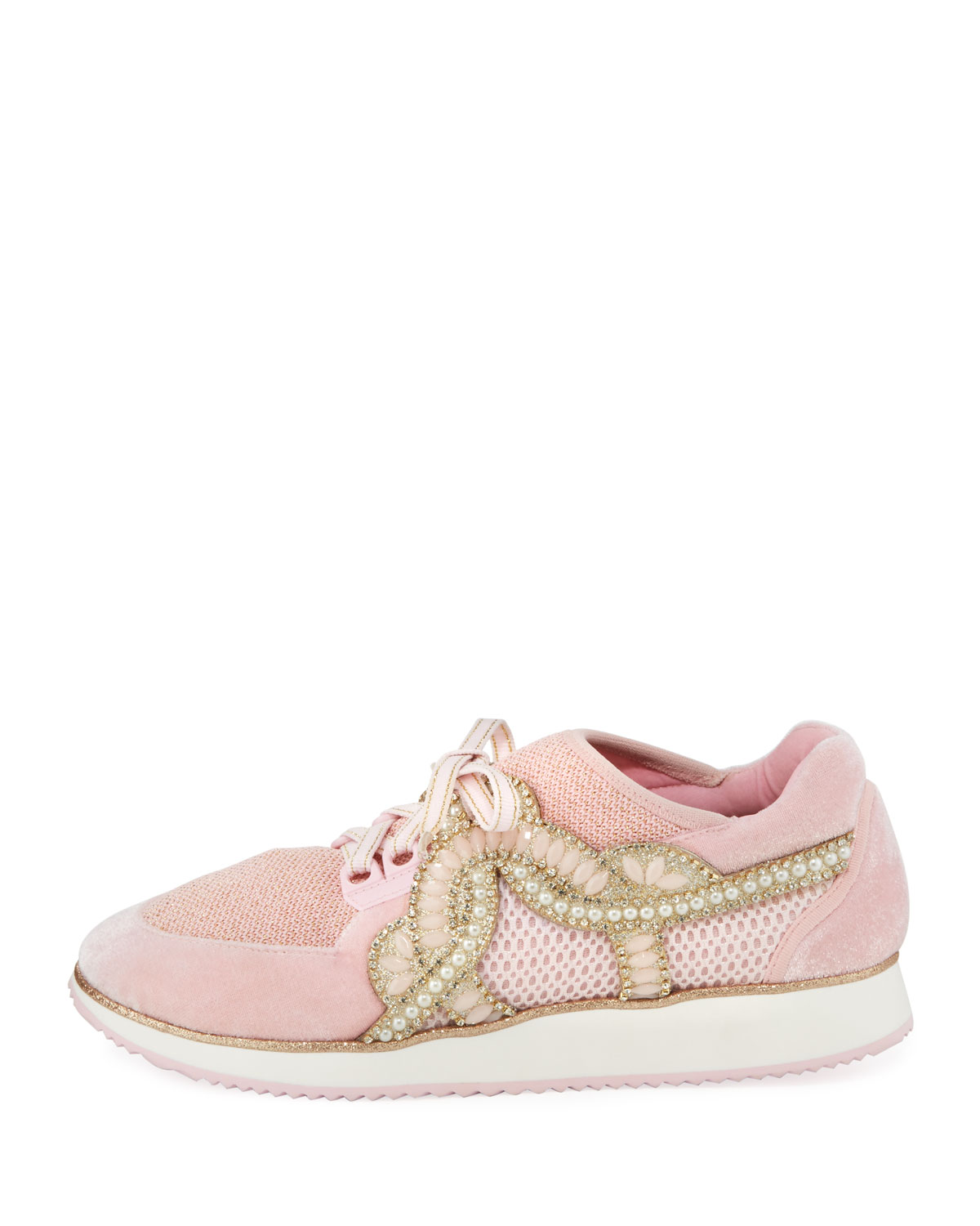 Sophia Webster Royalty Embellished Lace-Up Trainer Sneakers XfL0rQu7GA