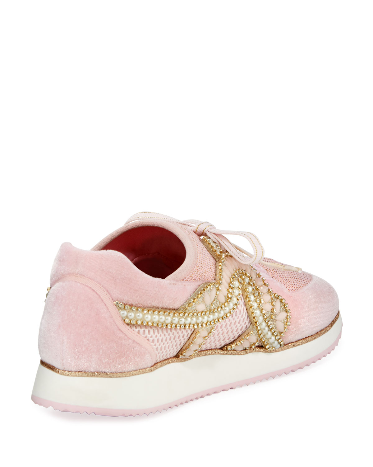 Sophia Webster Royalty Embellished Lace-Up Trainer Sneakers