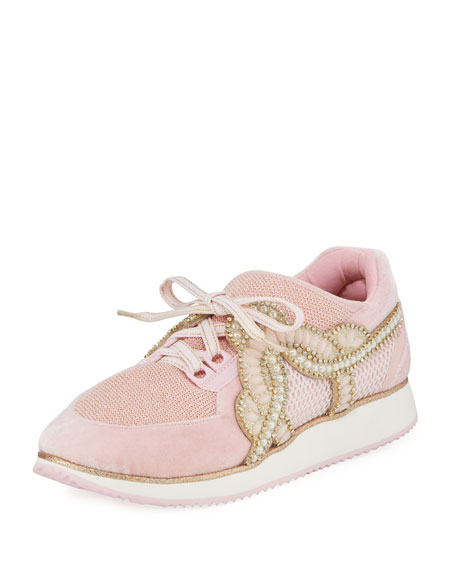 Royalty Embellished Lace-Up Trainer Sneakers