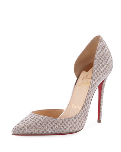 Iriza Metallic Fabric Red Sole Pump