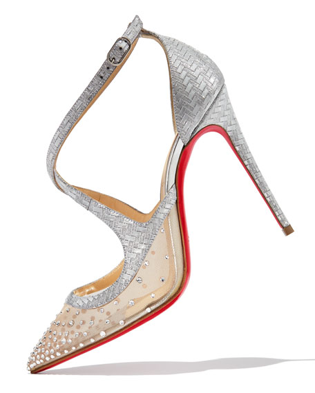 Christian Louboutin Twistissima Strass Strappy Red Sole Pumps