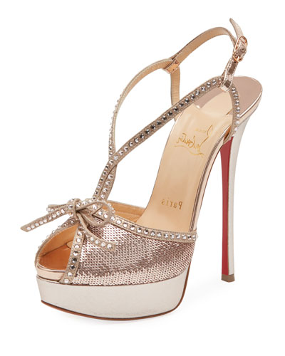 Balavenezia Metallic Platform Red Sole Pump