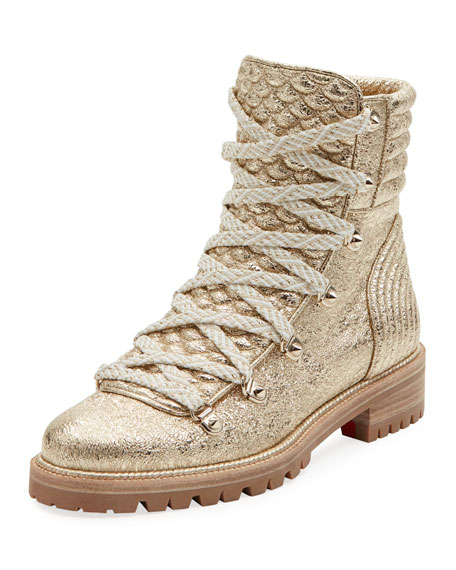 Christian Louboutin Mad Metallic Lace-Up Red Sole Boot