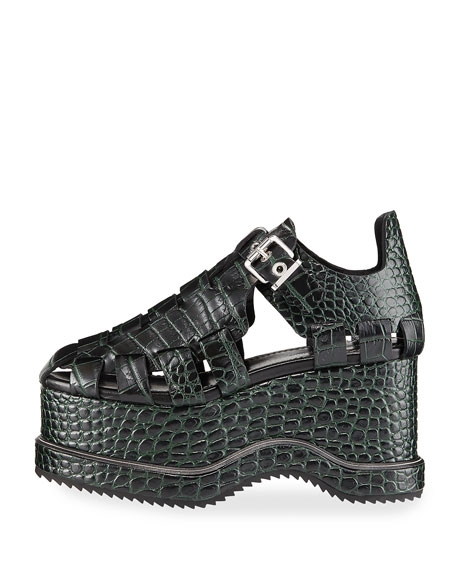 Crocodile Pebbled Platform Sandal
