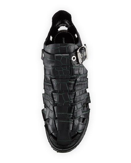 Crocodile Pebbled Platform Sandal