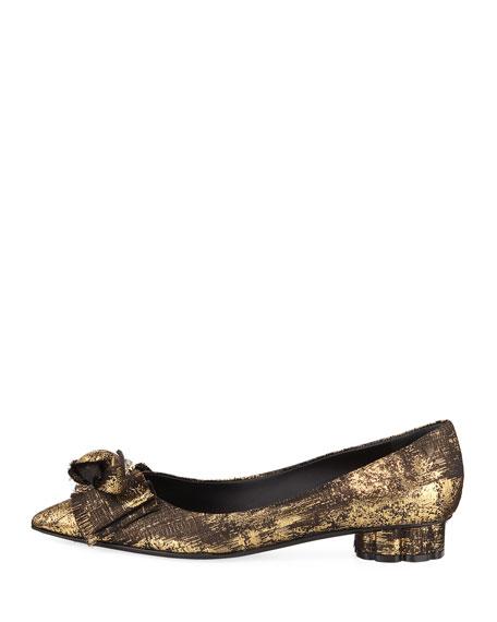 Talla 20 Metallic Jacquard Bow Ballet Flat, Black/Gold