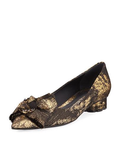 Metallic Jacquard Bow Ballerina Flat, Black/Gold