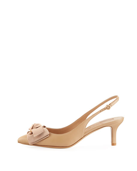 Laterina Napa Leather Flower-Bow Slingback Pump