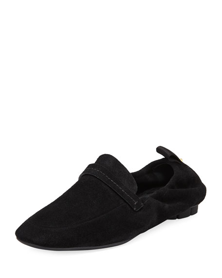Suede Scrunched Slip-On Flat, Nero