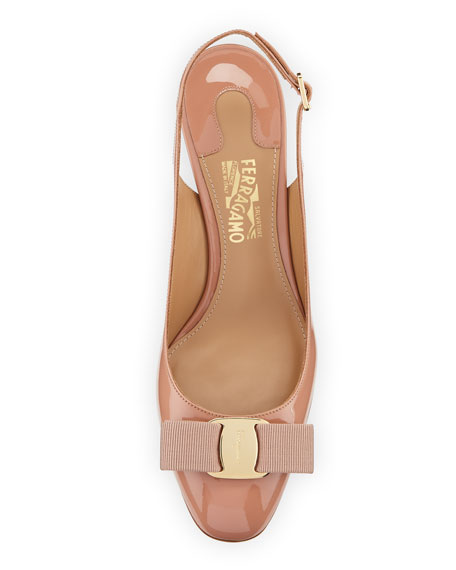 Slingback Pump with Signature Vara Bow, New Blush Patent