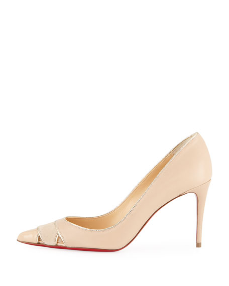 Biblio 85mm Piped Cutout Red Sole Pump