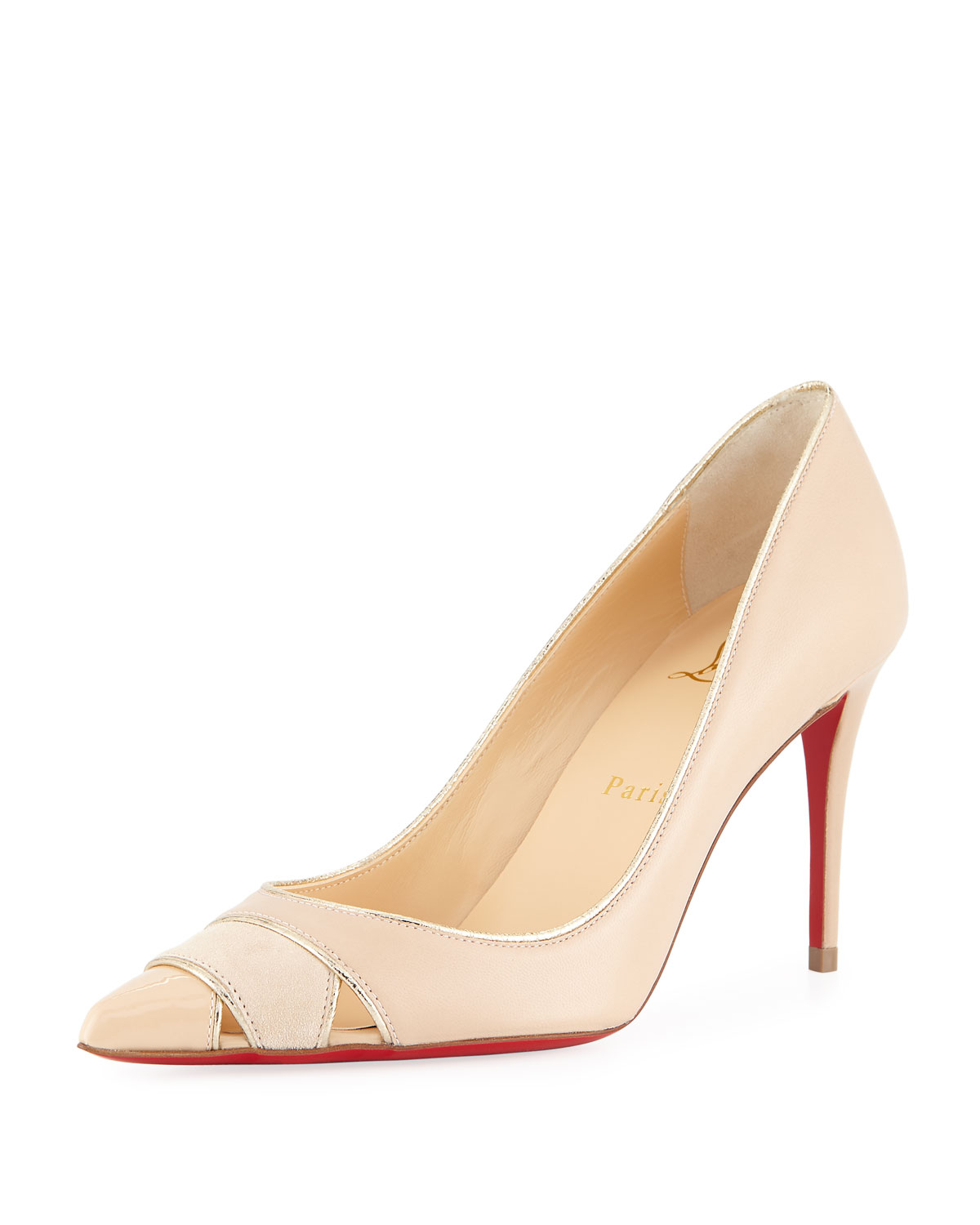 ad0769ac0d80 Christian Louboutin Biblio 85mm Piped Cutout Red Sole Pump