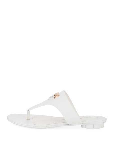 Enfola Flat Calfskin Thong Sandals, New Bianca Ottico