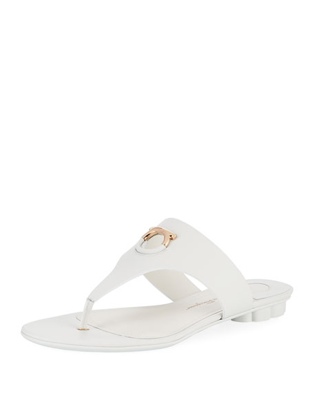 Salvatore Ferragamo Enfola Flat Calfskin Thong Sandals, New