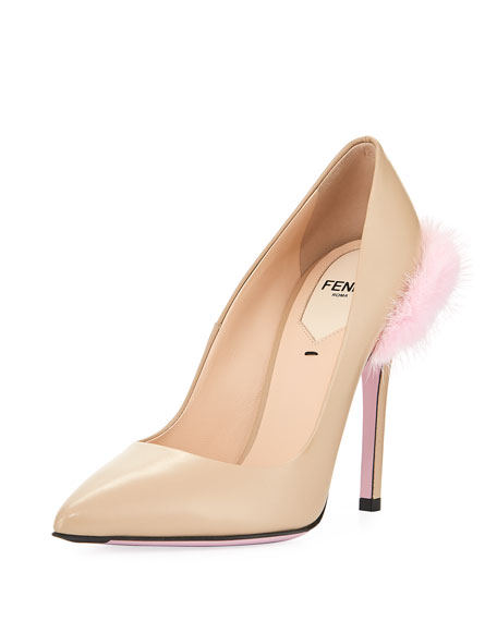 Fendi Duo 95mm Pump with Fur Trim