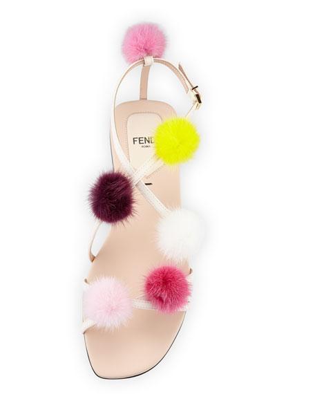 Fur Pompom Flat Leather Sandal