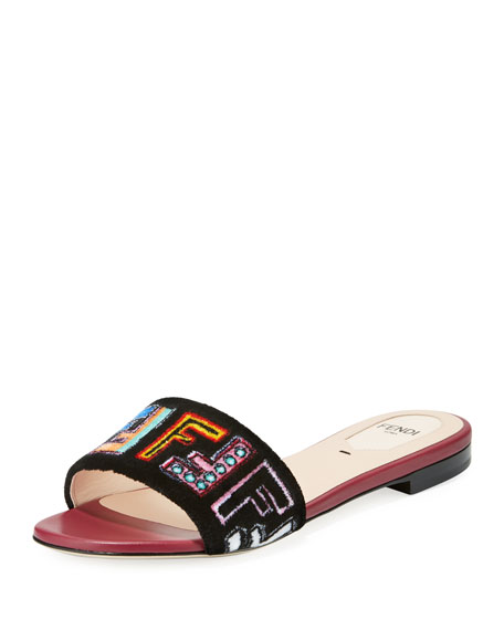 Fendi FF Velvet Embroidered Slide Sandal, Black
