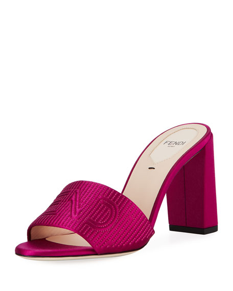 Fendi Stripy Satin 85mm Slide Mule, Pink