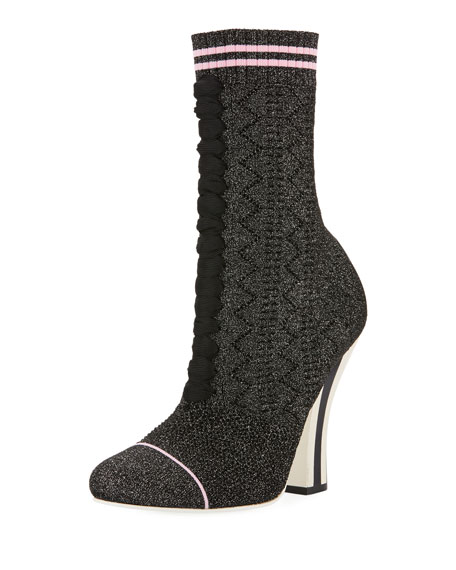 Fendi Rockoko Metallic Knit 105mm Bootie, Black