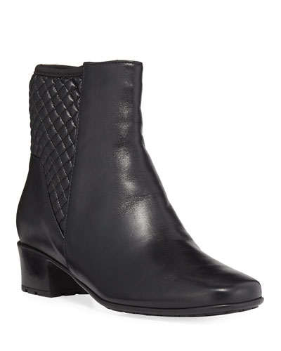 Yvet Quilted Leather Bootie, Black