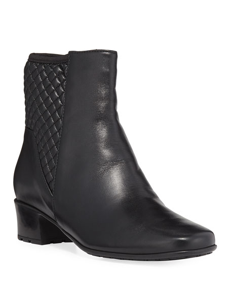 Yvet Quilted Leather Booties, Black