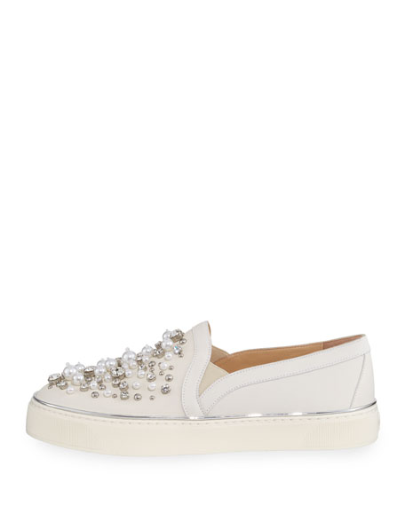 Decor Pearl-Embellished Nubuck Sneakers