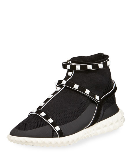 Rockstud Technical Knit Sneakers In Black