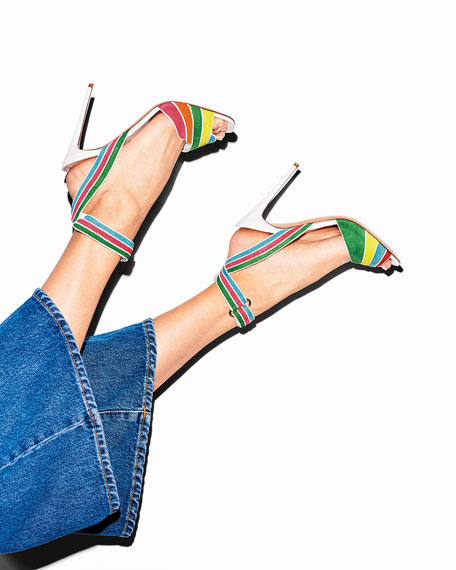Rainbow Ankle-Wrap High Sandals, Multi