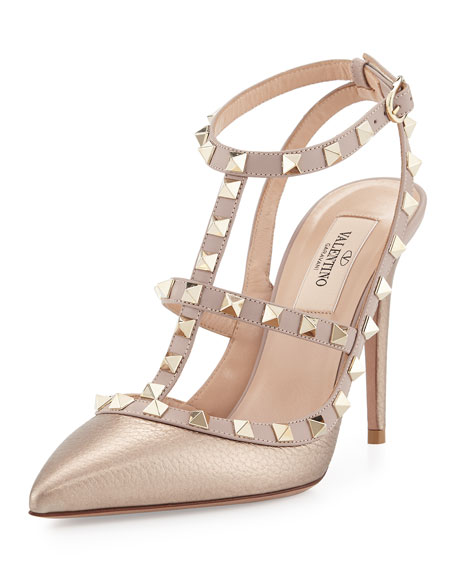 Rockstud Metallic Leather T-Strap Pumps in Gold