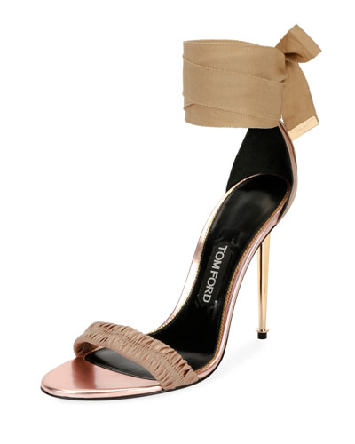 20f97f7ab7b461 TOM FORD Patent Ankle-Tie 105mm Sandal